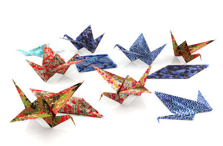 origami paper: Origami paper bird on white background