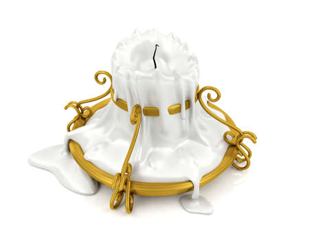 candle holder: Melted candle and gold candle holder isolated on white background