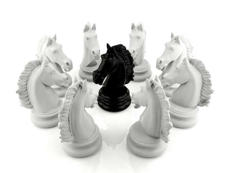 hypocritical: Black knight chess surrounded by a group of white knight chess, underdog concept