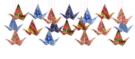 origami paper: Group of Origami paper birds on white background