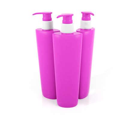 shampoo bottles: Pink shampoo bottles isolated on white background