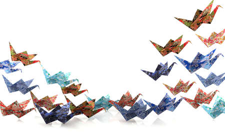 taking off: Group of Origami paper birds taking off, freedom concept