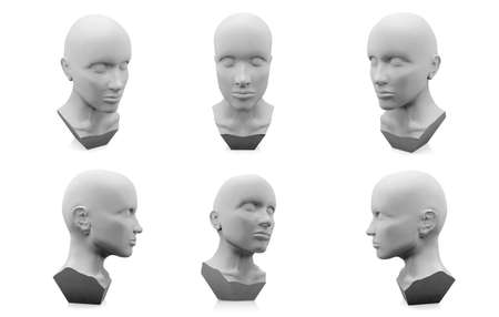 body dimensions: 3D human head mannequin on white background Stock Photo