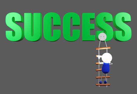 conceptual image: Robot climbing a ladder to success word, climbing to success point, conceptual image Stock Photo