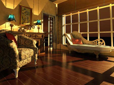 classic living room: Classic living room interior in dusk light Stock Photo