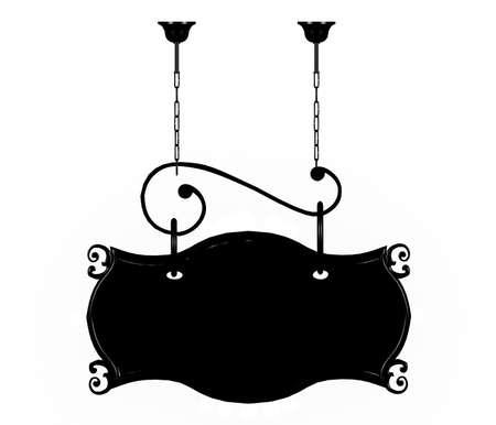 hanging banner: Black metal signage isolated on white background Stock Photo