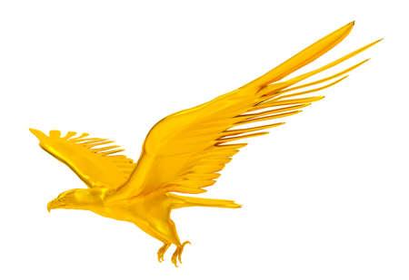 aigle royal: 3D render aigle royal volant isol� sur fond blanc