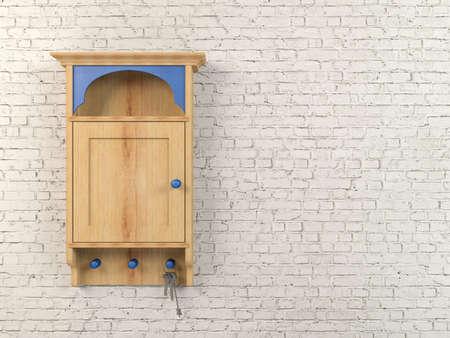 key box: 3D wooden key holder box isolated on white brick wall background