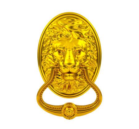 home furnishings: 3D golden lion door knocker isolated on white background Stock Photo