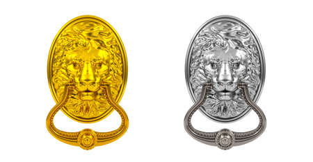 home furnishings: 3D render gold and silver doorknocker on white background Stock Photo