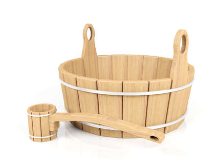 dipper: Wooden bucket and dipper
