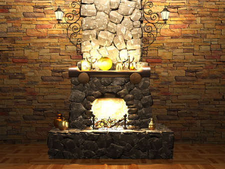 stone fireplace: Stone fireplace Stock Photo