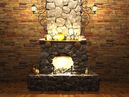 stone  fireplace: Stone fireplace Stock Photo