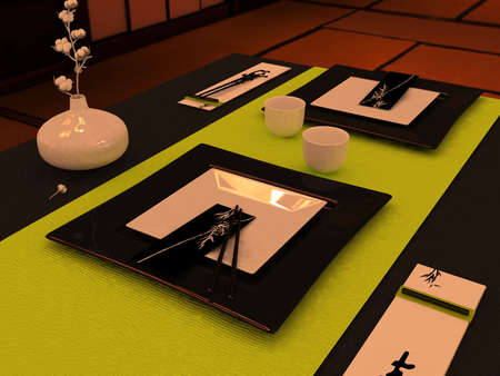 restaurant tables: Close up of dinner table setting in Japanese style Stock Photo