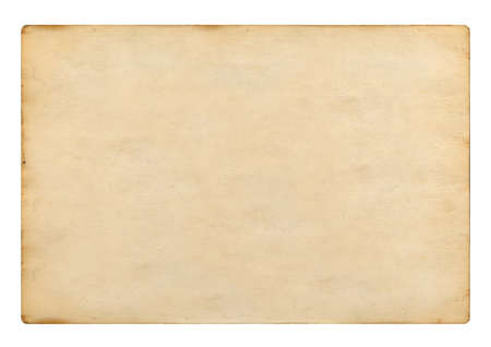 Old blank plain paper on white background