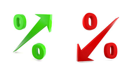 growth rate: High and Low percent rate Stock Photo