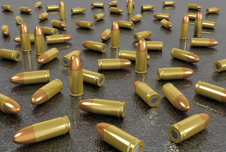 munition: Close up group of bullets Stock Photo