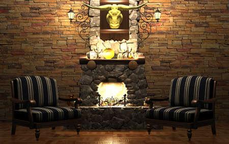 cabaña: chimenea y sillas de piedra