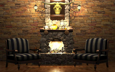 stone fireplace: Stone fireplace and chairs