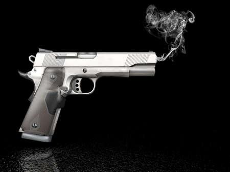 Handgun on dark background with smoke Stock Photo