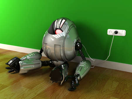 refilling: Robot charging himself with electric plug after out of energy and eyes turning red, image represents low energy, low power, recharging concept Stock Photo