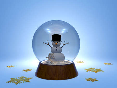 glass sphere: Christmas snowglobe with snowman inside