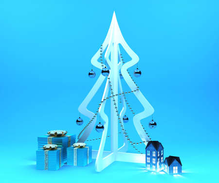 evening ball: Decoration set for Christmas event on blue background