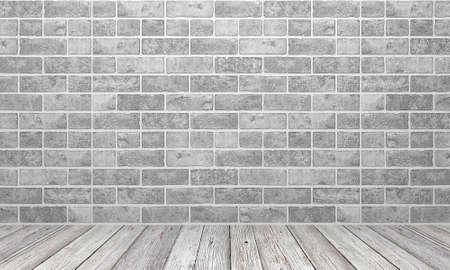 white wood floor: White stone wall and white wood floor