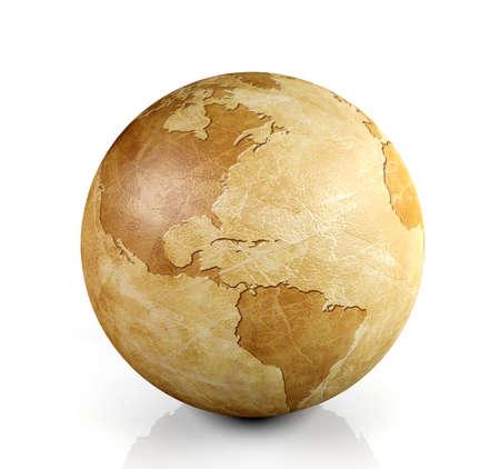 Vintage globe isolated, 3D render 写真素材