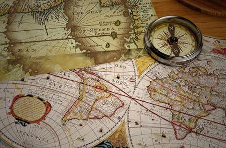 3D render, vintage map and vintage compass