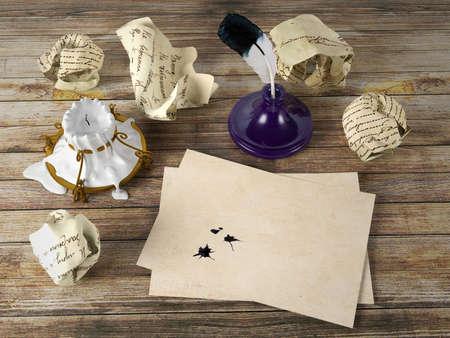 comunicación escrita: Papel de carta en blanco en la mesa de madera con pluma y tintero