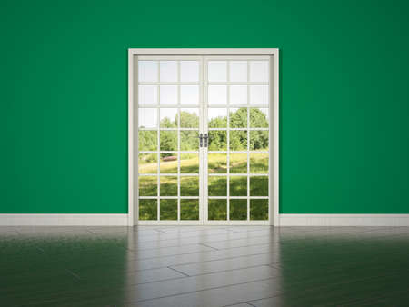 parquetry: White rrom door on green wall background