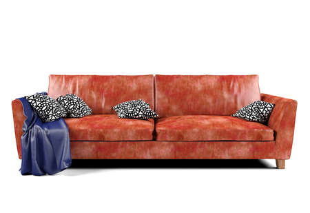 white sofa: Red leather sofa isolated on white background