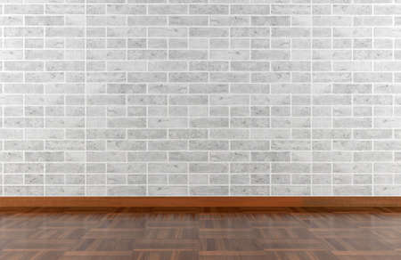 White stone wall and parquet floor