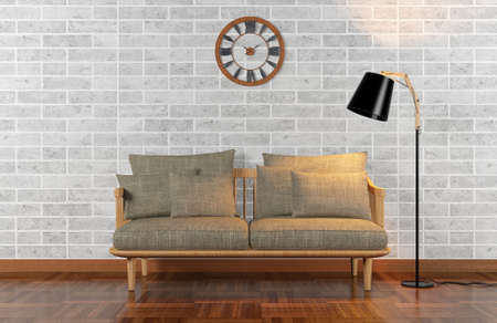 living room wall: Living room interior with brick wall, 3D rendering