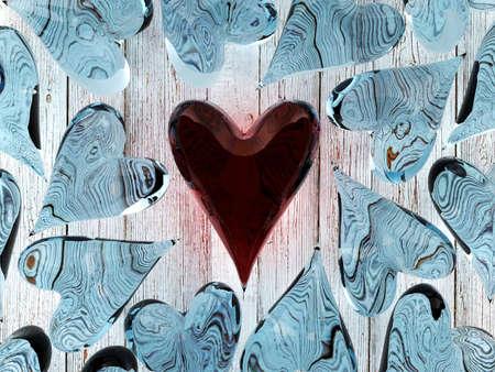 glass heart: Red glass heart among blue glass hearts