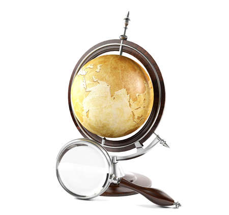 terrestrial globe: Vintage terrestrial globe and magnifying glass on white background