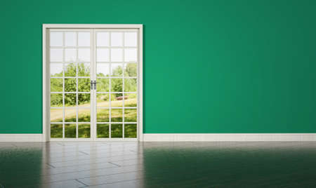 green wall: White room door on green wall background