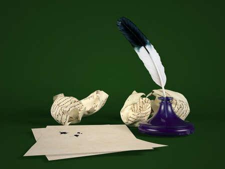 comunicación escrita: papel de carta en blanco con la pluma pluma y el tintero