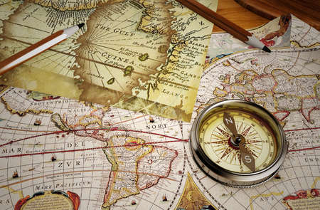 Vintage map and vintage compass Stok Fotoğraf
