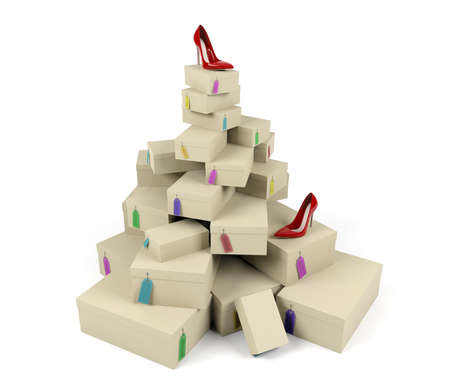 Pile of shoe boxes with red high-heeled shoe on the top