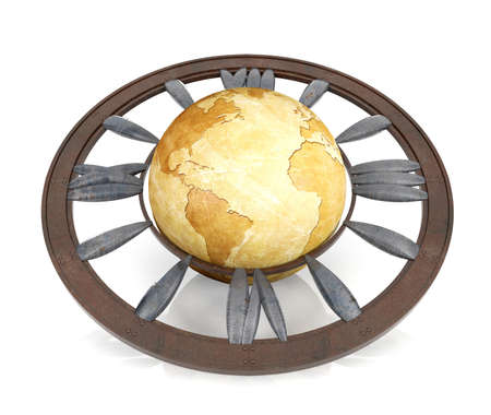 clockwise: Vintage globe surrounded by roman numeral clock, world clock concept