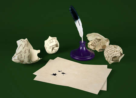written communication: Blank letter paper with quill pen and inkwell on green background Stock Photo