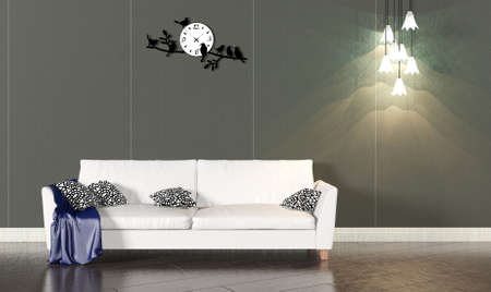 living room wall: Living room interior with white sofa and dark wall