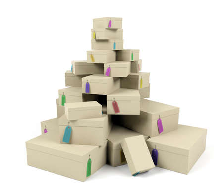 Pile of boxes with price tags
