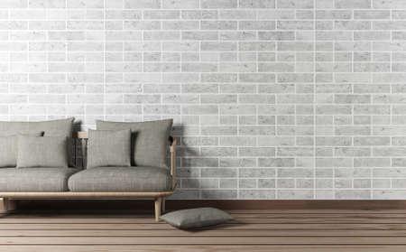 living room wall: Living room interior with sofa and brick wall