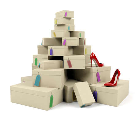fetishes: Pile of shoe boxes with red high-heeled shoes on white background, 3D render
