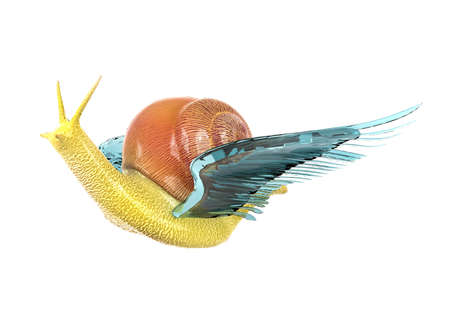 wing span: Snail flying with blue crystal wing side view, business, success, solution concept Stock Photo