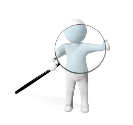 investigating: 3d man investigating with magnifying glass
