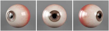 Realistic human eyeballs brown iris pupil in three different sides Zdjęcie Seryjne